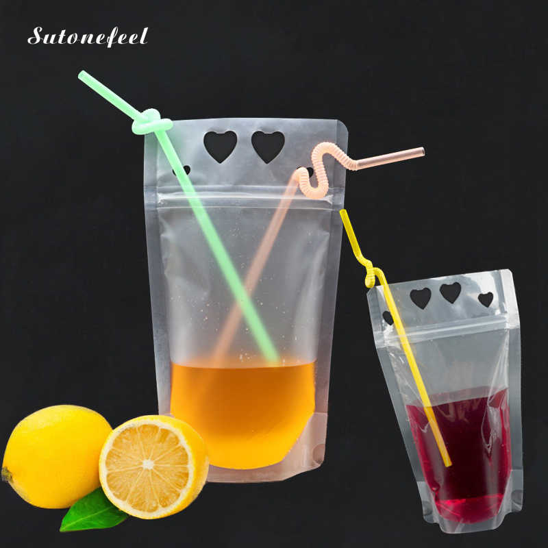 10PCS Clear Drinking Bag with Straw Easy Use Beverage Bags for Travel Wedding Party Decoration Drink Packaging Bag Pouch