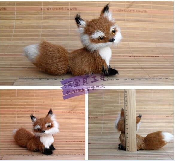 малка сладка simulaiton лисица играчка кафява лисица кукла декорация кукла подарък играчка около 13 * 5 * 11cm 2112
