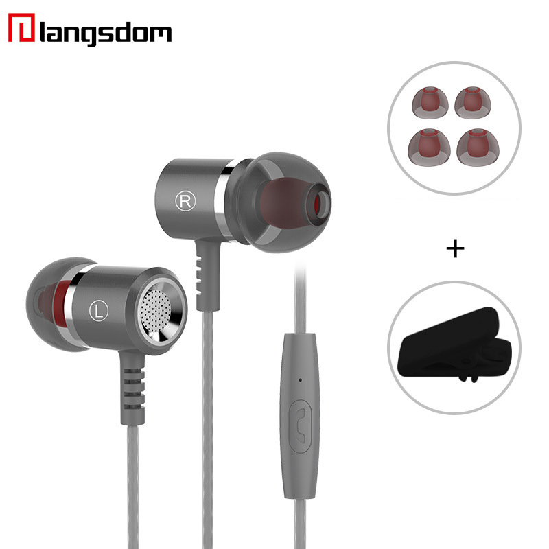 Langsdom M400 Metal Earphones Super Bass earphone with Microphone Hifi Headsets for phone computer MP3 3.5mm for iphone 6s Plus flat head earphone 3 5mm earbuds super bass headsets with microphone adjustable volume for xioami mobile phone