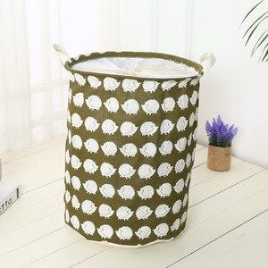 Image 4 - 2019 New Organizer Clothes Storage Large Beam Hamper Fabric Cotton Linen Laundry Basket Cartoon Tree Hedgehog Toy Storage