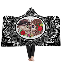 New 3D Blanket Wedding Skull Floral 3D Printing Hooded Blankets Black Home Adults Wearable Blankets Winter Warm