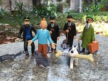 6pcs /lot The Adventures of Tintin tintin PROFESSOR Dupont Milou Captain Haddock 3 PVC Action Figure Collections