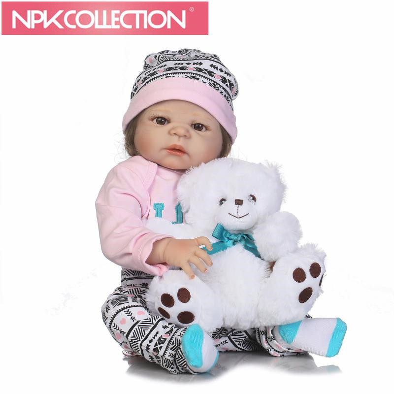 Realistic Reborn Baby Dolls Girl 23 Inch Full Body Silicone Vinyl Lifelike Baby Alive Dolls with Free Bear Playmates For Kids шампуни для животных gamma шампунь для гладкошерстных кошек 250мл