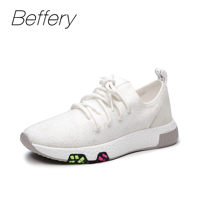 Beffery 2018 Spring Fashion Sneakers Women Lace-up Flat Platform Shoes For Women Breathable Casual Shoes girl Sneaker A1HA-8