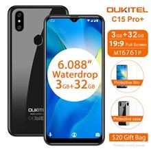 OUKITEL C15 Pro 6.088 4G Smartphone 3GB 32GB MT6761 écran goutte deau 2.4G/5G WiFi téléphone portable C15 Pro + empreinte digitale visage ID