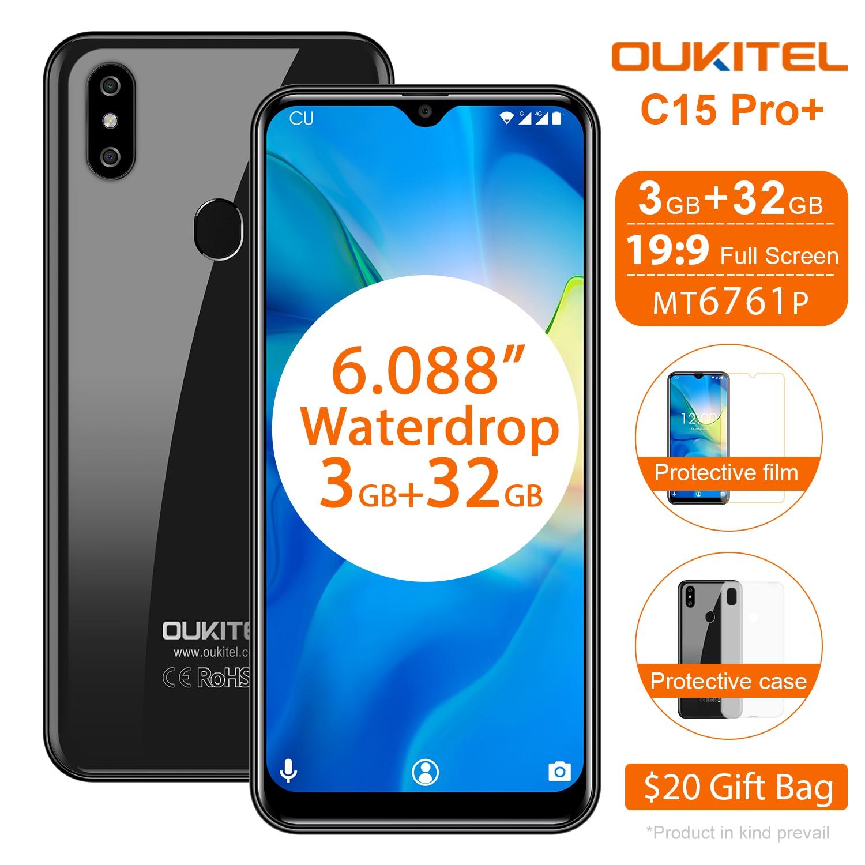 OUKITEL C15 Pro + 6.088 ''4G Smartphone 3 GB 32 GB MT6761 écran de chute d'eau 2.4G/5G WiFi téléphone Mobile C15 Pro + identification de visage d'empreintes digitales
