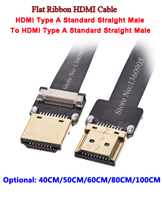 40CM/50CM/60CM/80CM/1M Aerial FPV PTZ HDMI flexible flat ribbon cable FFC cable FPV HDMI Cable Standard Male to Male Straight 1m hdmi to hdmi cable