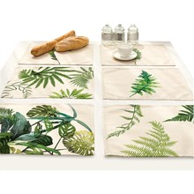 Green Leaf Print Table Coasters Placemat Dining Pad Cloth Mat Pattern Design Kitchen Accessories Decoration Home table-cloth