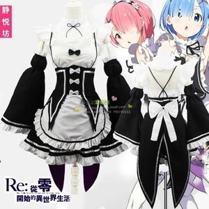 Image 4 - Ram/Rem Cosplay Re:zero Kara Hajimeru Isekai Seikatsu black blue red Costume Maid Servant Dress