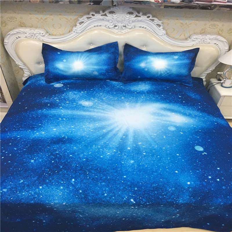 Hot 3d Galaxy bedding sets Twin/Queen Size Universe Outer Space Themed Bedspread 2/3/4pcs Bed Linen Bed Sheets Duvet Cover Set 45