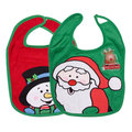 Classic Santa's Pattern Cotton Baby Bibs For Boy And Girl With Shinning Santa's Accessory Christmas Child Bib Water proof