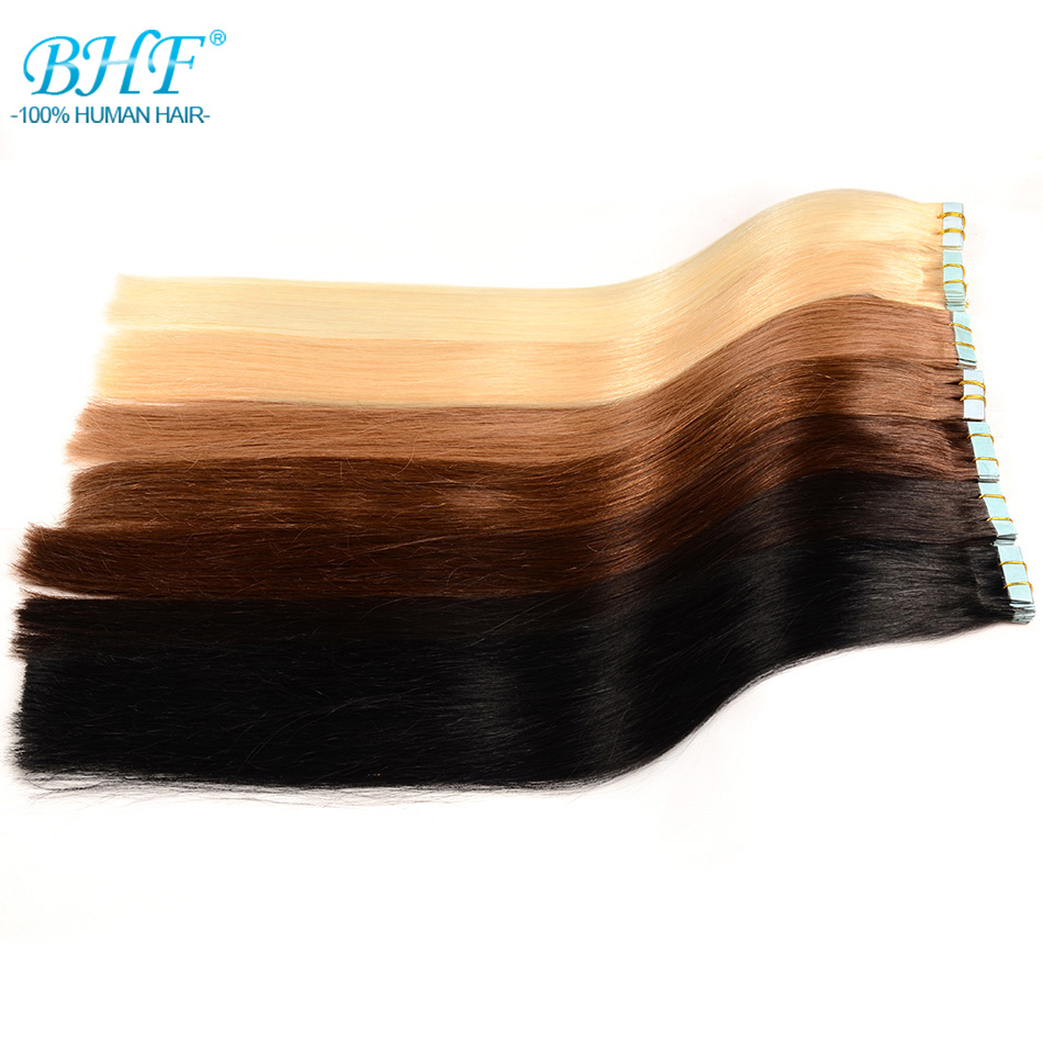 BHF Tape In Human Hair Extensions 12nch To 28inch Tape Hair Extensions Human 20pcs Remy European Straight Adhensive Hair