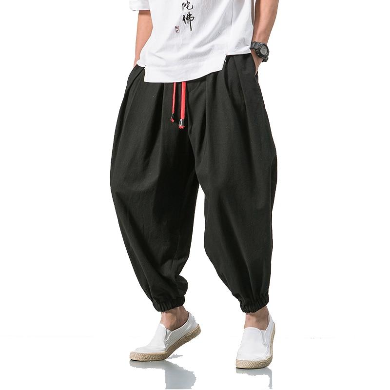 2019 Summer Style Harem Pants Men Chinese Style Casual Loose Cotton Linen Sweatpants Jogger Pants Streetwear Trousers ABZ397