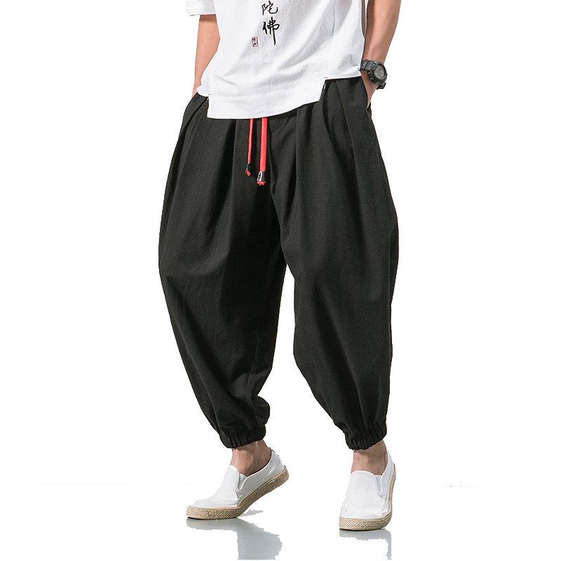 2020 Summer Style Harem Pants Men Chinese Style Casual Loose Cotton Linen Sweatpants Jogger Pants Streetwear Trousers ABZ397