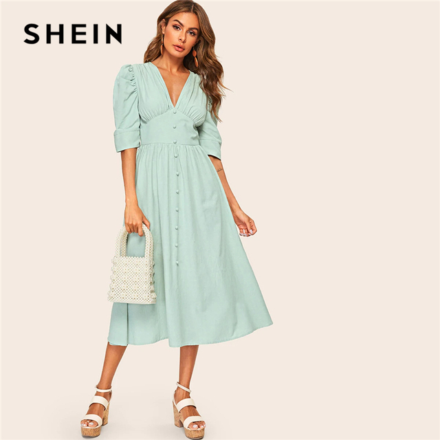4f56b31532 SHEIN Button Front Puff Sleeve O-Ring Belted High Waist Dress 2019 Green Deep  V