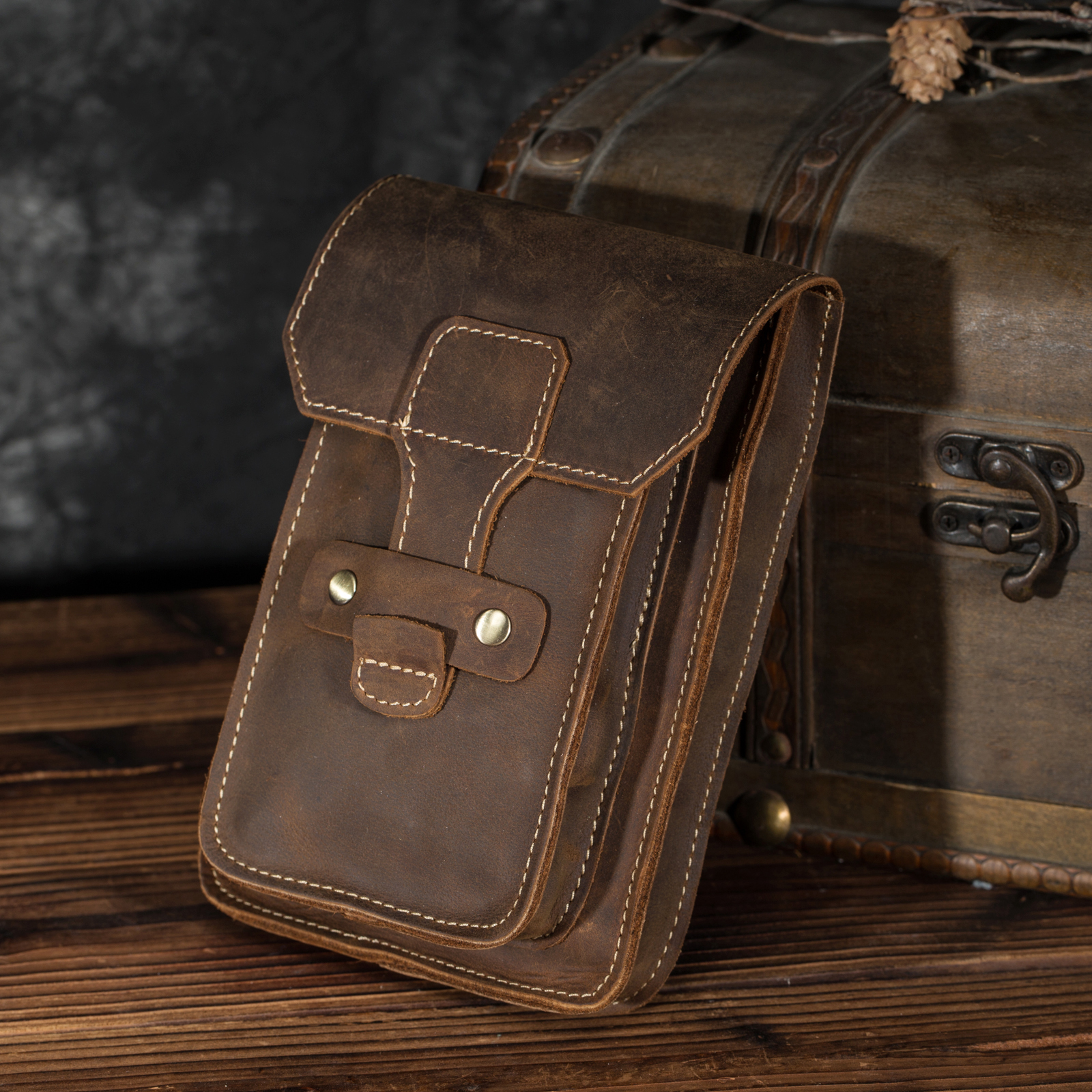 Men Fashion Original Leather Small Summer Pouch Hook Dsign Travel Cigarette Case 7