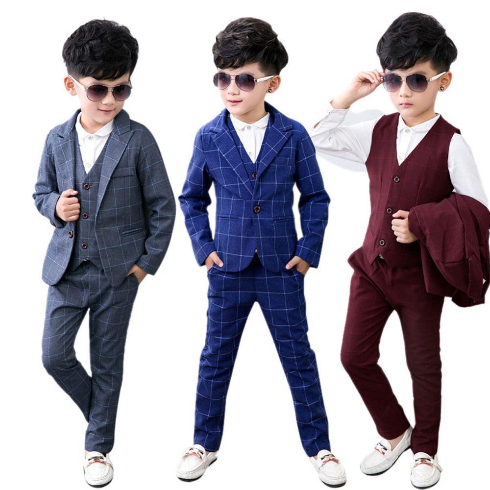 Costume enfants bébé garçons costumes enfants Blazer garçons costume formel pour mariage garçons vêtements ensemble vestes Blazer + pantalon + chemise + gilet 4 pièces