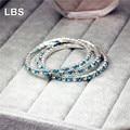 Aquarmarine Crystal Bridal Wedding Bracelet 925 Stering Silver Bracelet Rhinestone Bracelet
