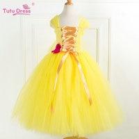 Girls Handmae Tulle Princess Dresses Halloween Dress Autumn Yellow Beauty Inspired Dress With Rose Flower Children