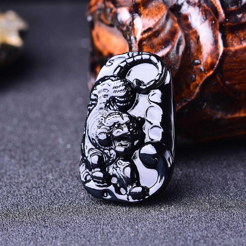 WAN naturalny czarny kamień tygrysie tygrysy w dół góry wisiorek 52*34*14 MM naszyjnik biżuteria