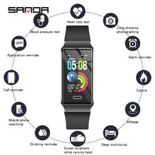 Lüks silikon akıllı saat kadın Bluetooth nabız monitörü kan basıncı spor izci bayanlar ios için akıllı saat Android
