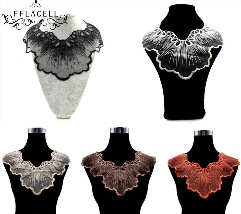 2 pcs White Embroidery Mesh Organza Guipure Lace Collar Fabric DIY Floral Neckline Lace Sewing Accessories Applique