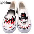 Japan Anime One Piece Skull Design Hand Painted Canvas Shoes Men's Boys Casual Shoes Slip-On Breathable Flat Shoe Man Footwear