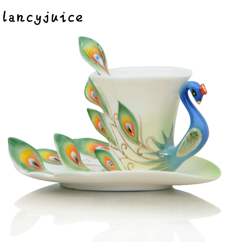 Good Morning Chinese Express : Colorful porcelain enamel peacock coffee mug design