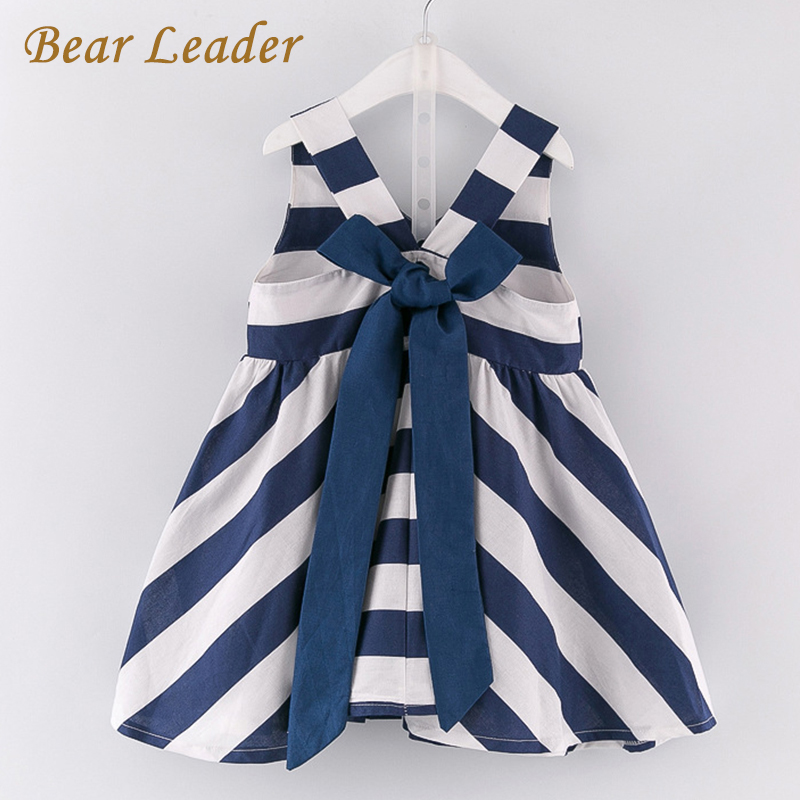 Bear Leader Girls Dress 2017 New Casual Style Girls Clothes V-neck Sleeveless Striped Design for Girls Princess Dresses 3-7Y bear leader girls dress 2016 brand princess dress kids clothes sleeveless red rose print design for grils more style clothes