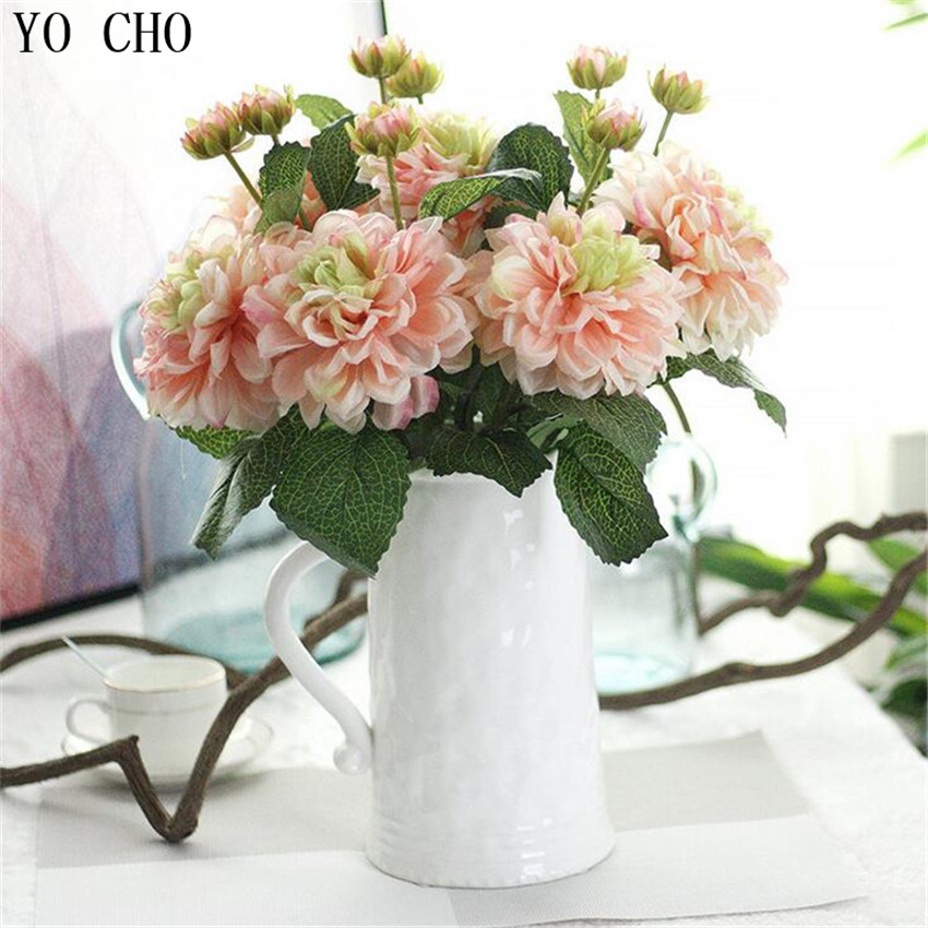 YO CHO High Quality Artificial Silk Peony Christmas Party Decor 2 Head  Dahlia Home Table Living