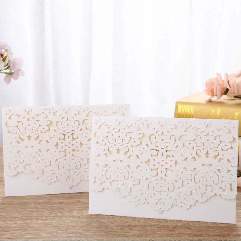 1pcs White Laser Cut Luxury Flora Wedding Invitations Card Elegant Lace Customize With Envelopes Wedding Party Favor Decoration