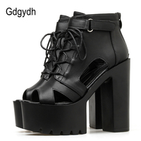 Gdgydh Women's Boots Summer Open Toe Buckle Strap Gothic Chunky Heels Platform Shoes Ankle Boots For Women Lace Up Good Quality