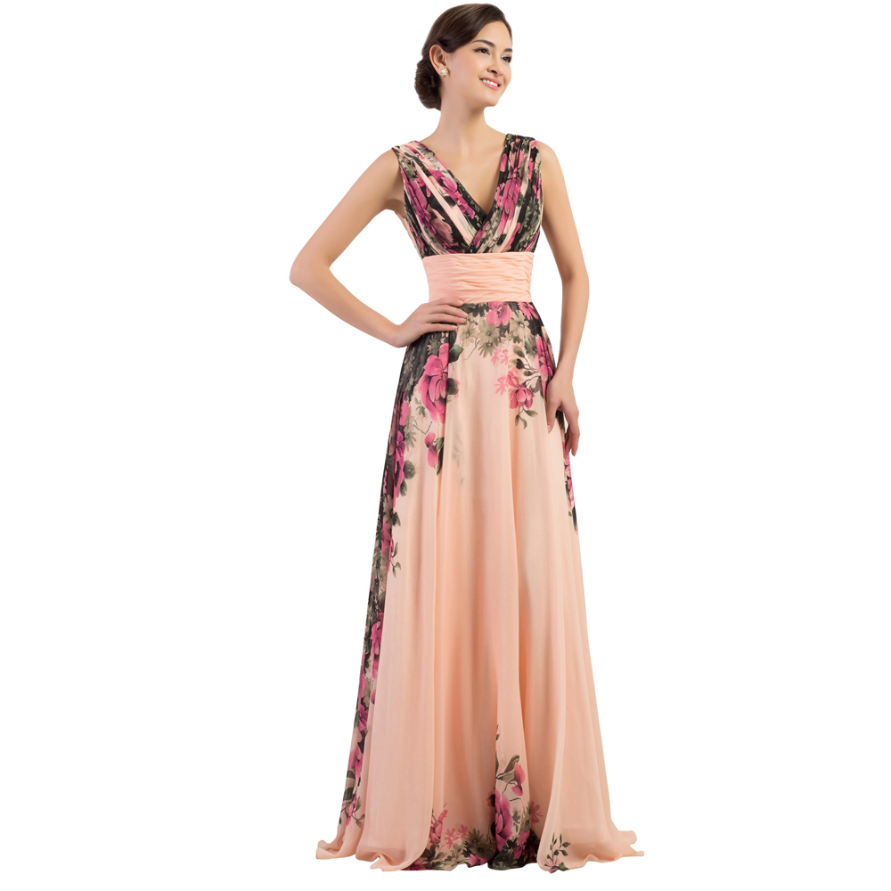 Grace Karin Deep V Neck Floral Print Evening Dresses
