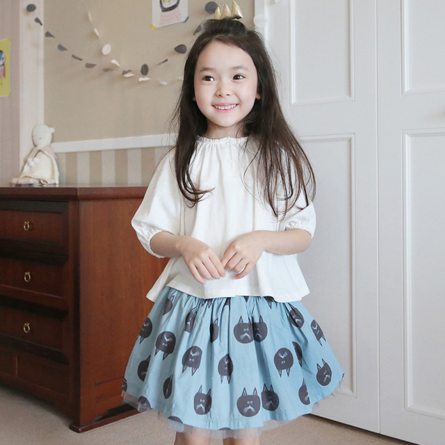 children skirt for girls 2017 new fashion baby girl skirts ball bown mesh baby girls skirt cat printed baby girls tutu skirts