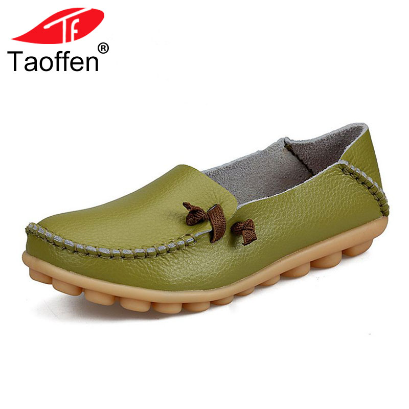 TAOFFEN Size 34-44 Genuine Real Leather Breathable Shoes Women Mary Jane Shoes Casual Flat Shoes Peas Non-Slip Outdoor Footwear hellyhansen women s outdoor casual shoes leather shoes flat shoes