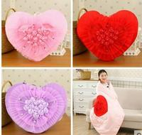 red/pink/purple color heart shaped stuffed cushion blanket inner soft throw pillow decorative lumbar pillow backrest wedding gif