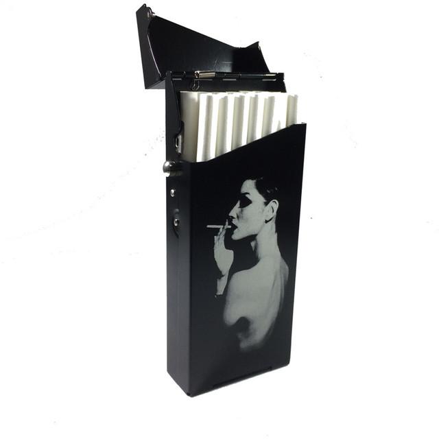 Female Smoking Lonely Girl 100mm Slim Cigarette Case Aluminium Alloy Ultra Thin Cigarette Boxes Pocket Smoking