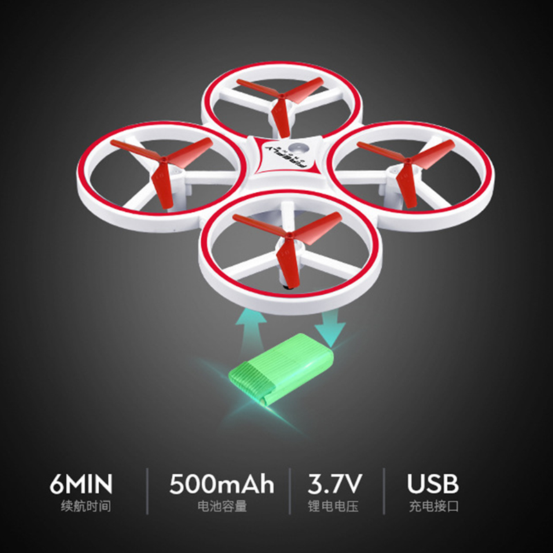 ZF04 RC Mini Quadcopter Induction Drone Smart Watch Remote Sensing Gesture Aircraft UFO Hand Control Drone  Altitude Hold  Kids 3