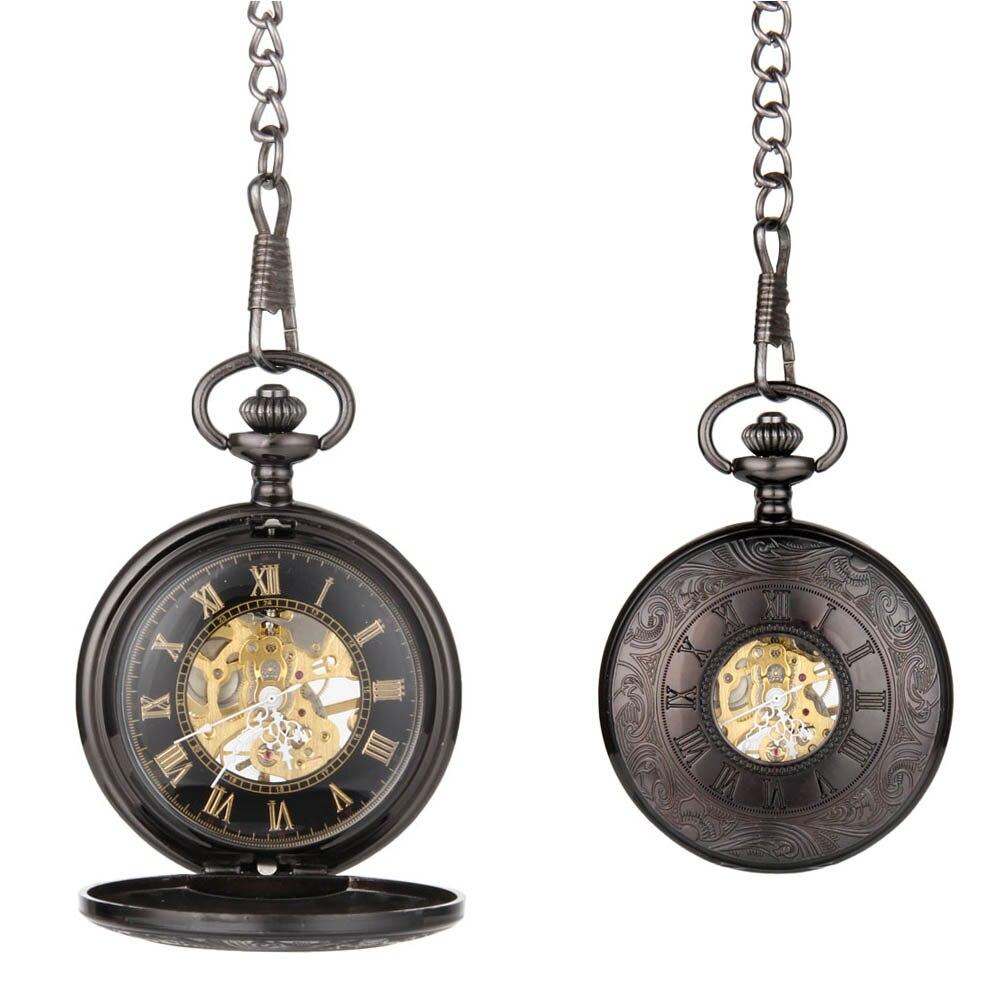 Fashion Unisex Vintage Quartz Pocket Watch Alloy Roman Number Mechanical Clock Chain Watches Birthday Gifts LL@17