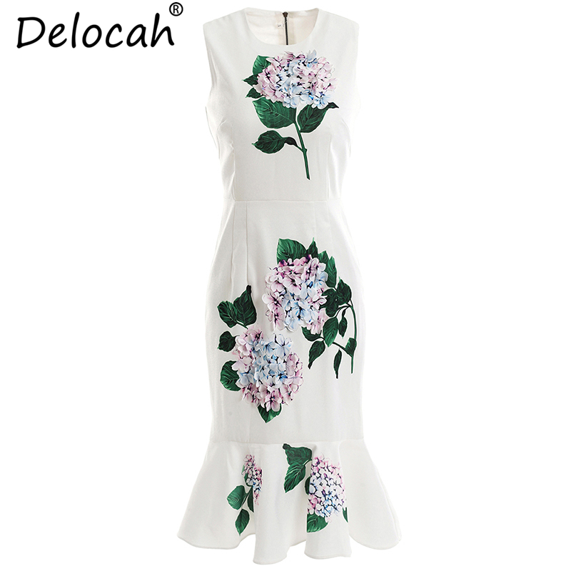 Delocah Women Summer Ruffles Dress Runway Fashion Sleeveless Floral Print Appliques Collect Waist Casual Trumpet Mermaid Dresses