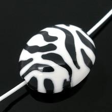 100Pcs Oval Zebra Striped White & Black Spacer Beads Acrylic DIY Perles Perlas Jewelry Findings 23x19mm