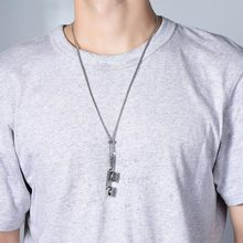 ZFVB Hiphop Rock Music Headset Pendant Necklace Men 316L Stainless steel Adjustable Fashion Male Jewelry Gift