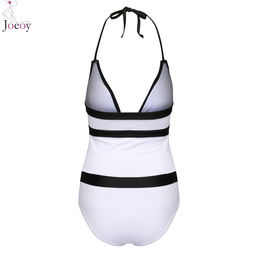Women White Halter Color Block Deep V Neck Cut Out One Piece Swimsuit 2017 Summer New Open Back Bathing Suit Sexy Beach Swimwear