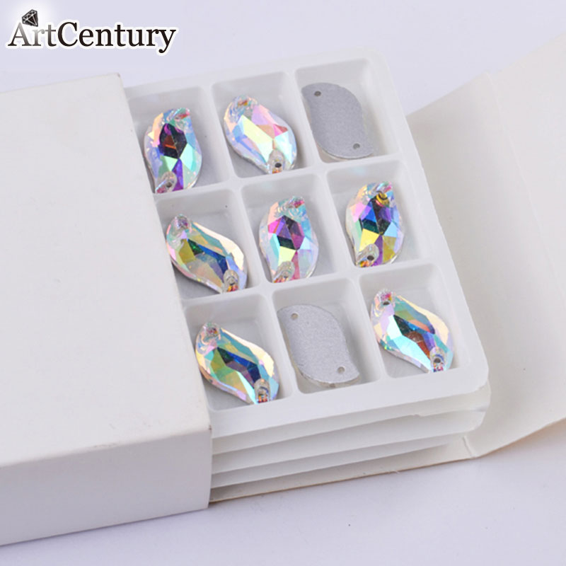 All Sizes S shape Clear Glass Sewing Crystal AB Flatback 2 Holes Sew On Rhinestones For Women Garments Accessories