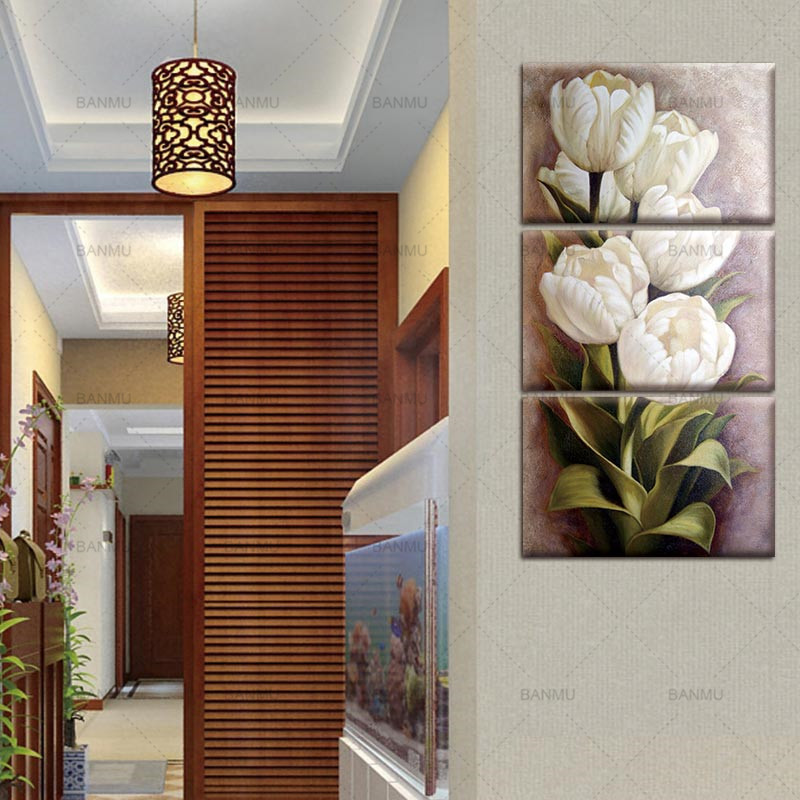 home office artwork. Tulips 3 Panels Wall Art Canvas Paintings Decorations For Living Room Home Office Artwork Giclee Decor-in Painting \u0026 Calligraphy From W