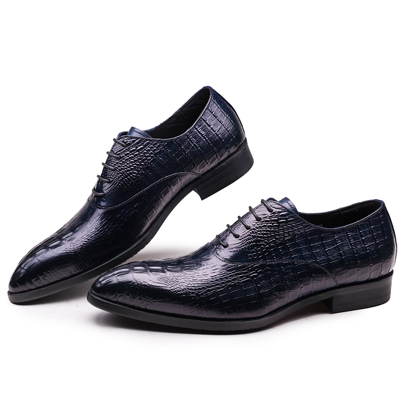 Crocodile Grain pointed toe black dark blue mens dress shoes wedding shoes genuine leather oxfords shoes