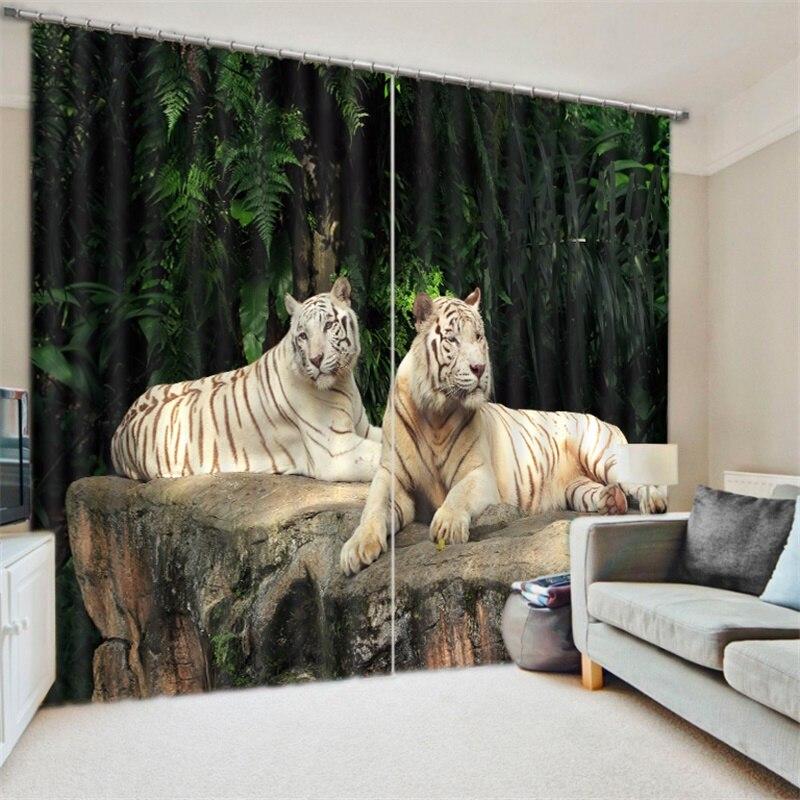 3d Animal imprimé tigre blanc guépard ours polaire rideaux pour salon chambre bureau fenêtre décoration moderne rideaux occultants