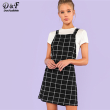 цена на Dotfashion Bib Pocket Front Grid Pinafore Dress 2019 Summer Sleeveless Preppy Dress Women Black Straps Short Straight Dress