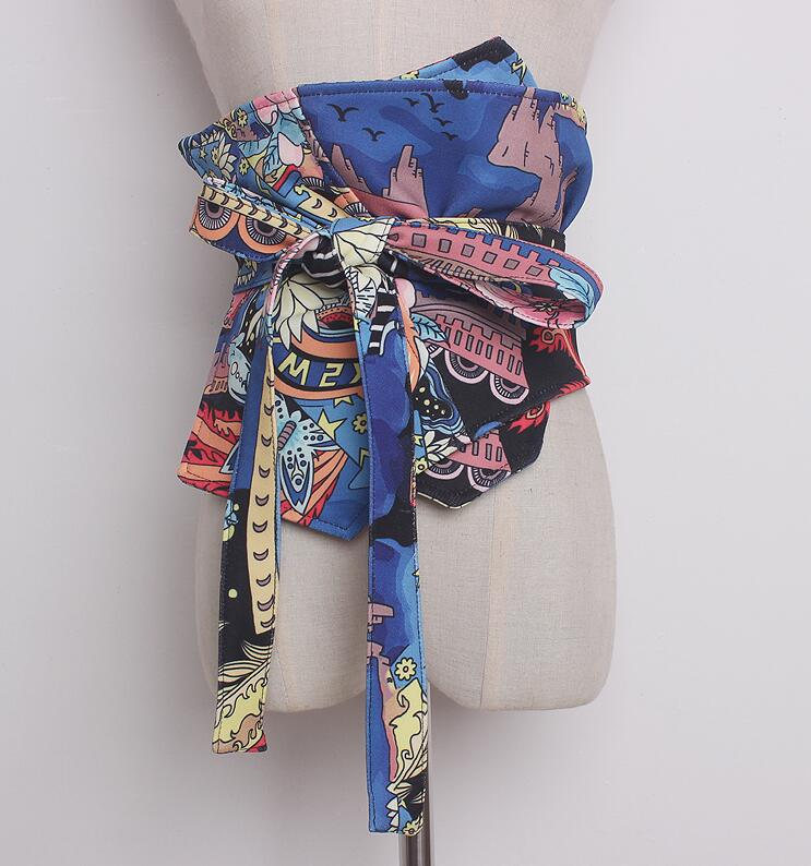 Women's Runway Fashion Print Wide Bow Cummerbunds Female Vintage Dress Corsets Waistband Belts Decoration Wide Belt R912