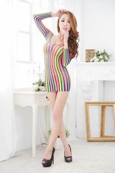 rainbow fishnet mini Dress slutlly Crotch Bodysuit 1